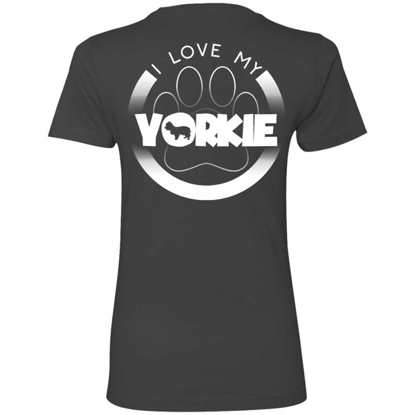 I LOVE MY YORKIE (Paw Design) - Back Design - Next Level Ladies' Boyfriend Tee