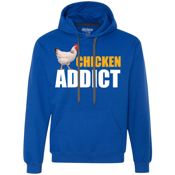 Chicken Gag Gift  - Chicken Addict Shirt  Heavyweight Pullover Fleece Sweatshirt