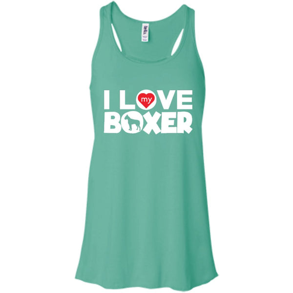 I Love My Boxer  - Bella+Canvas Flowy Racerback Tank