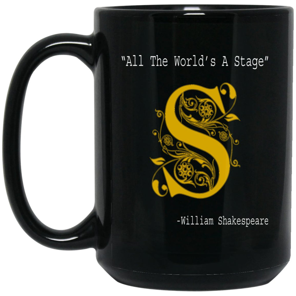 Book Lover Gift All The World's A Stage Shakespeare Large Black Mug