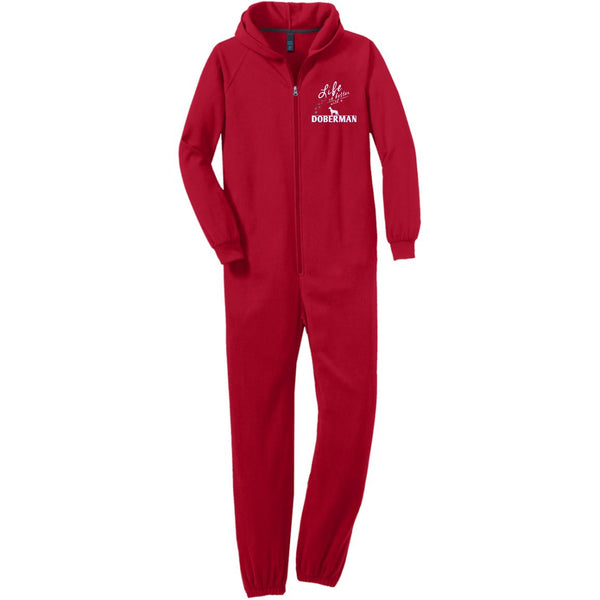 Doberman - Life Is Better With A Doberman Paws - Adult Fleece Onesie (Embroidered)