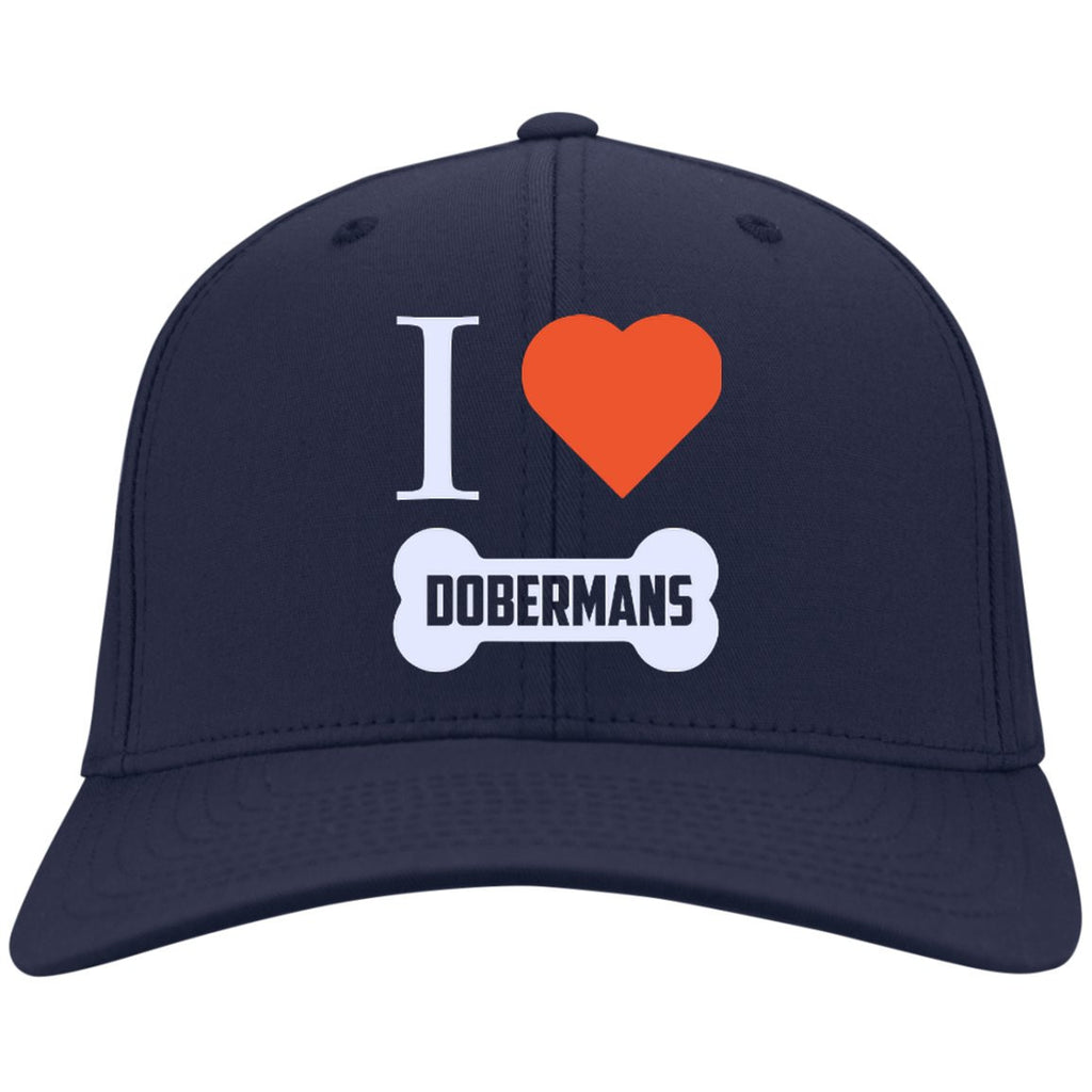Doberman - I LOVE MY DOBERMAN (BONE DESIGN) - Dry Zone Nylon Cap (Embroidered)