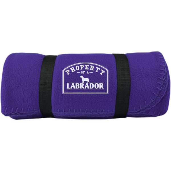 Labrador - Property Of A Labrador -  Fleece Blanket (Embroidered)