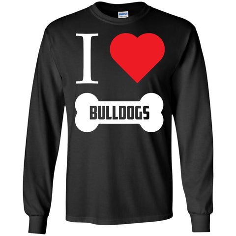 Bulldog - I LOVE MY BULLDOG (BONE DESIGN) - LS Ultra Cotton Tshirt