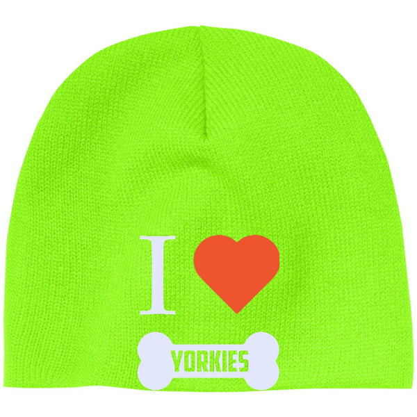 Yorkshire Terrier - I LOVE MY YORKIE (BONE DESIGN) - Beanie (Embroidered)