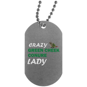 Crazy Green Cheek Conure Lady Dog Tag