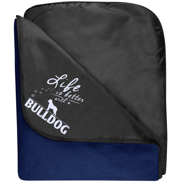 Bulldog - Life Is Better With A Bulldog Paws - Fleece & Poly Travel Blanket (Embroidered)
