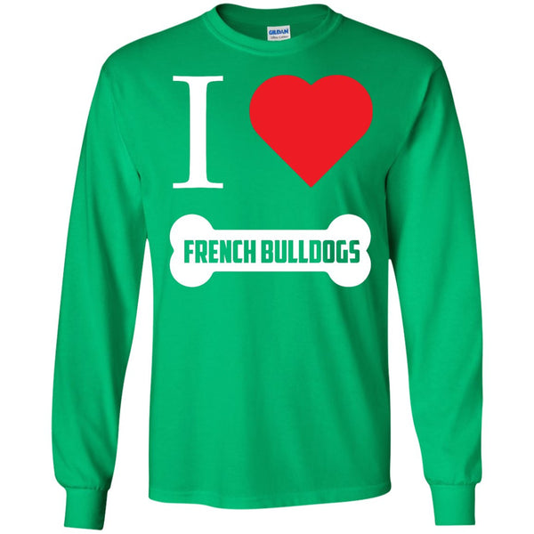 French Bulldog - I LOVE MY FRENCH BULLDOG (BONE DESIGN) - LS Ultra Cotton Tshirt