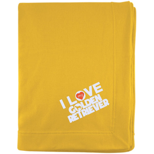 I Love My Golden Retriever - Embroidered Sweatshirt Blanket