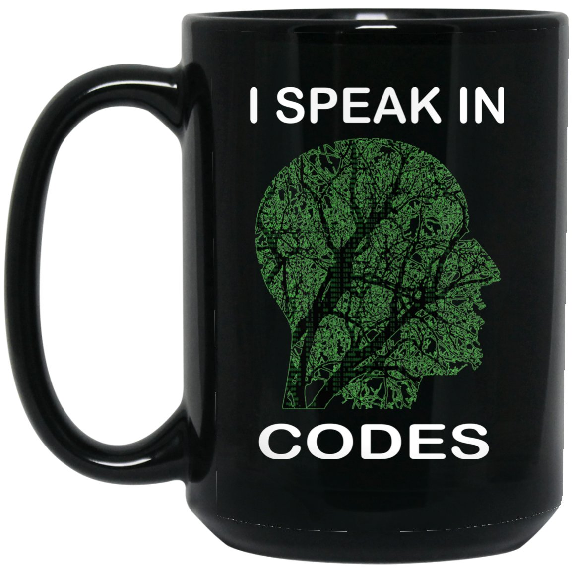 Funny Programmer Mug I speak in codes Large Black Mug