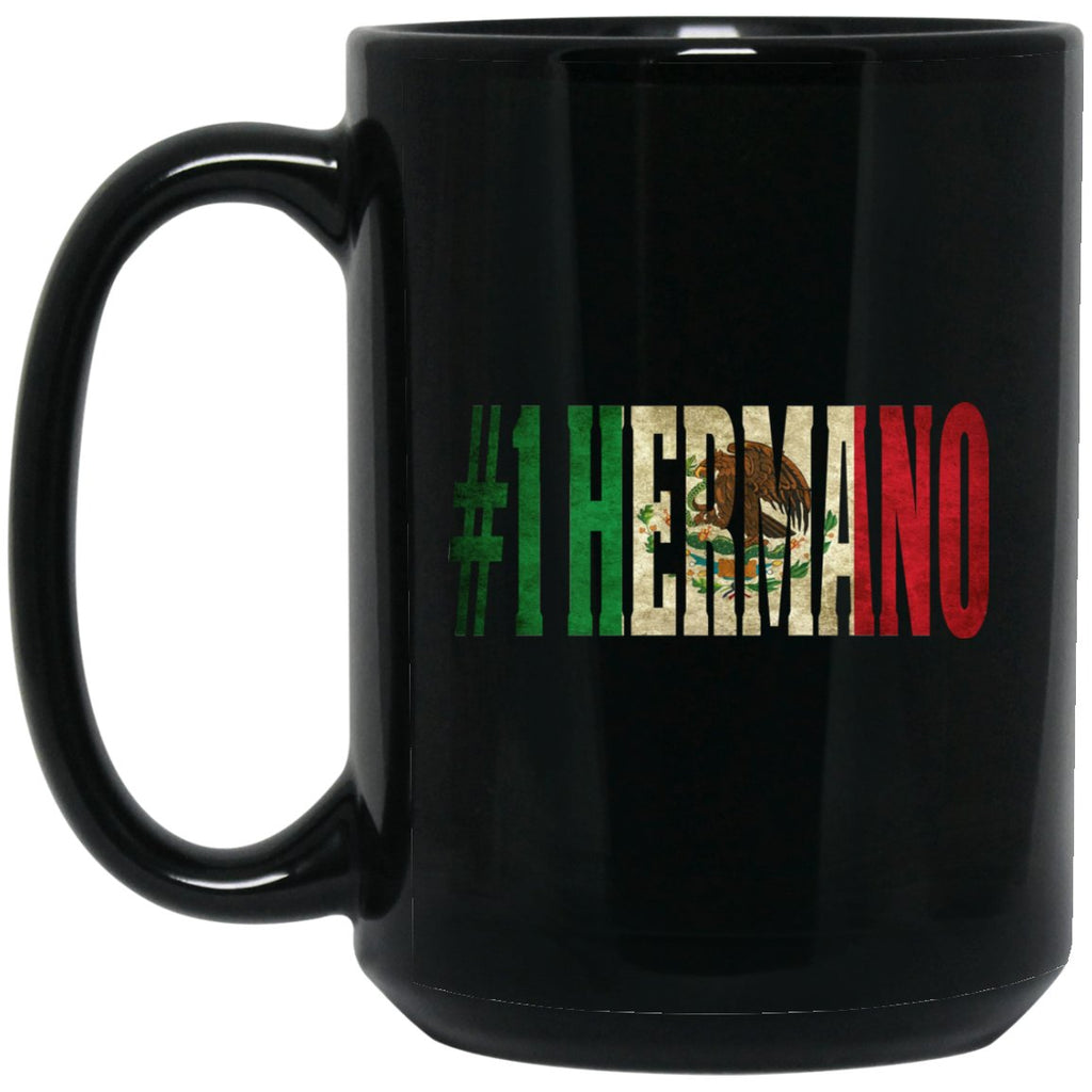 Cool Hermano Gift Coffee Mug For Mexican Flag Mug for Mexican Pride Vintage Flag2 Large Black Mug