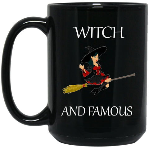 Funny Witch Withc and Famous Mug Large Black Mug