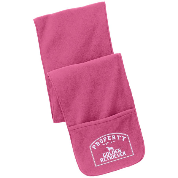Golden Retrievers - Property Of A Golden Retrievers - Fleece Scarf with Pockets