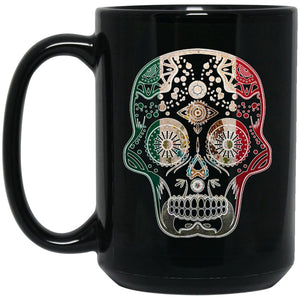 Cool Coffee Mug Mexican Flag Mug for Mexican Pride Skull Outline Large Black Mug
