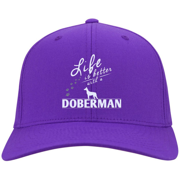 Doberman - Life Is Better With A Doberman Paws - Dry Zone Nylon Cap (Embroidered)