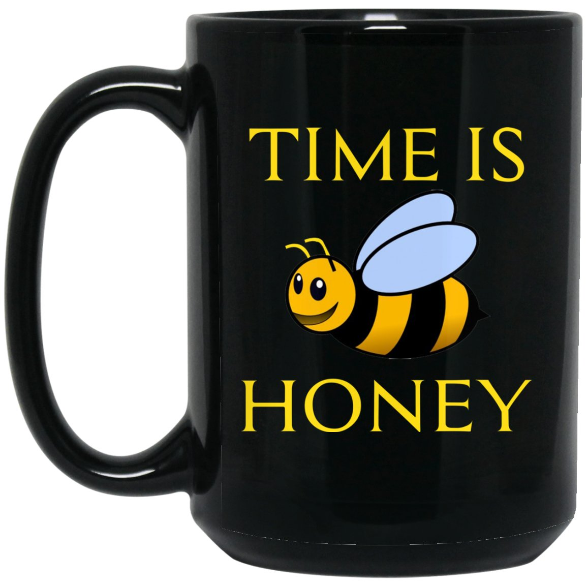 Funny Beekeeping Gift - Time is honey Large Black Mug