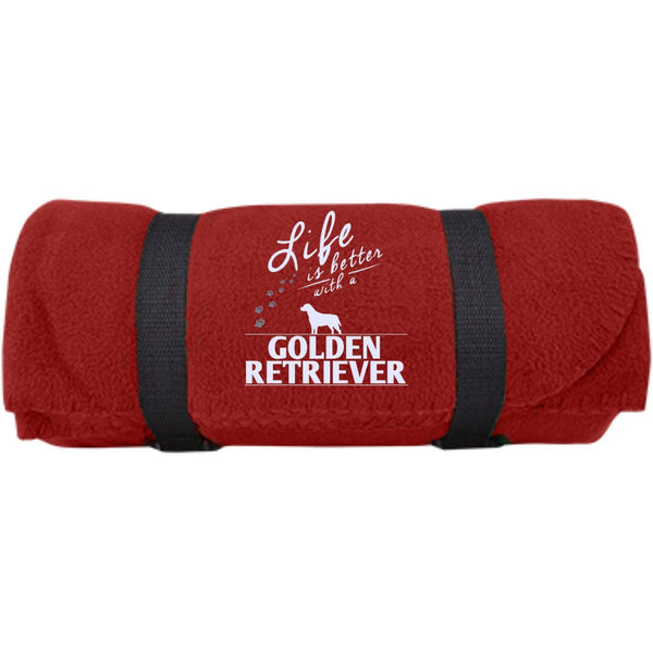 Golden Retriever - Life Is Better With A Golden Retriever Paws -  Fleece Blanket (Embroidered)
