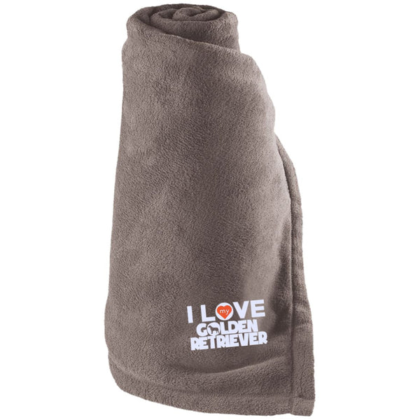 I Love My Golden Retriever - Large Fleece Blanket