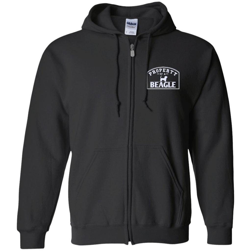Beagle - Property Of A Beagle - Embroidered Zip Up Hooded Sweatshirt