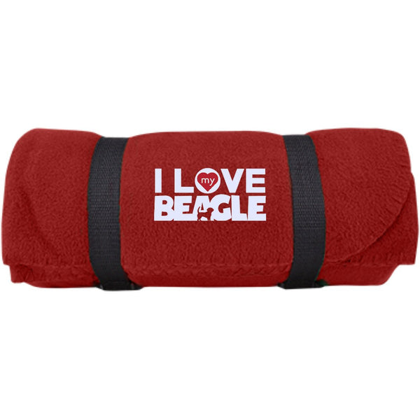 I Love My Beagle -  Fleece Blanket (Embroidered)