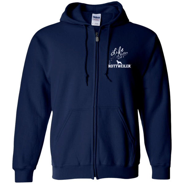 Rottweiler - Life Is Better With A Rottweiler Paws - Embroidered Zip Up Hooded Sweatshirt