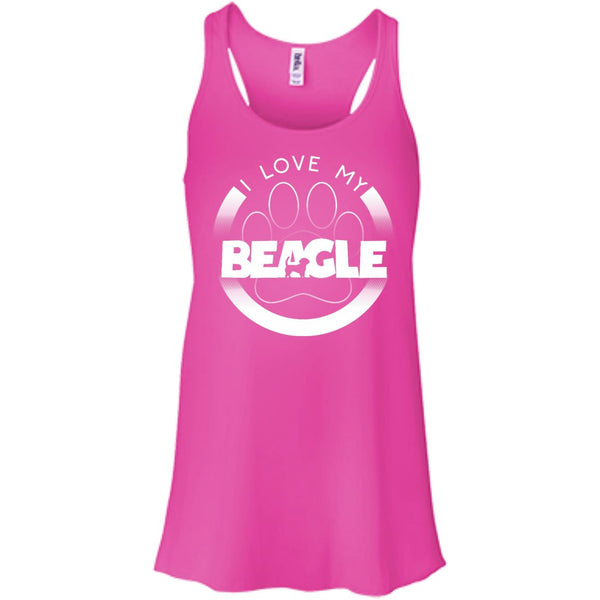 I LOVE MY BEAGLE (Paw Design) - Front Design  - Bella+Canvas Flowy Racerback Tank