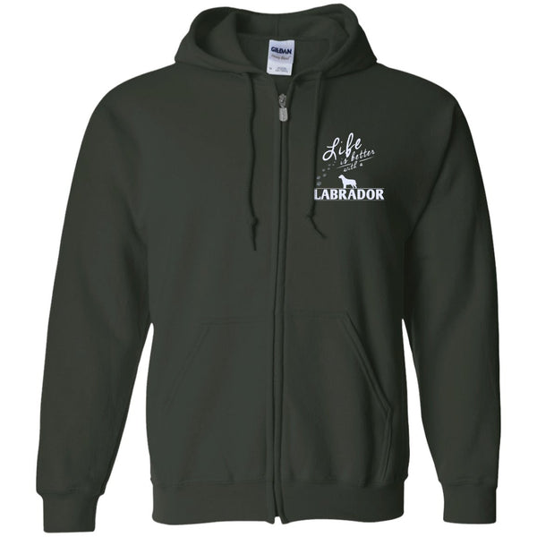 Labrador - Life Is Better With A Labrador Paws - Embroidered Zip Up Hooded Sweatshirt