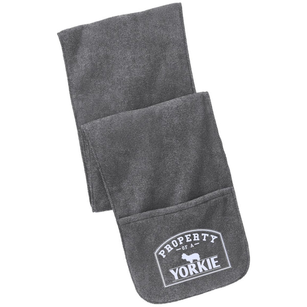 Yorkshire Terrier - Property Of A Yorkshire Terrier- Fleece Scarf with Pockets