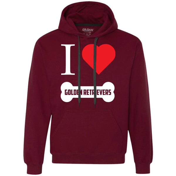 Golden Retriever- I LOVE MY GOLDEN RETRIEVER (BONE DESIGN) - Heavyweight Pullover Fleece Sweatshirt