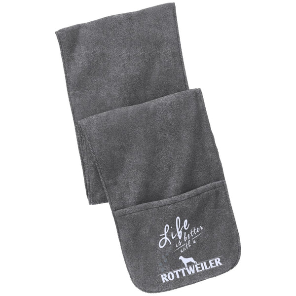 Rottweiler - Life Is Better With A Rottweiler Paws - Fleece Scarf with Pockets