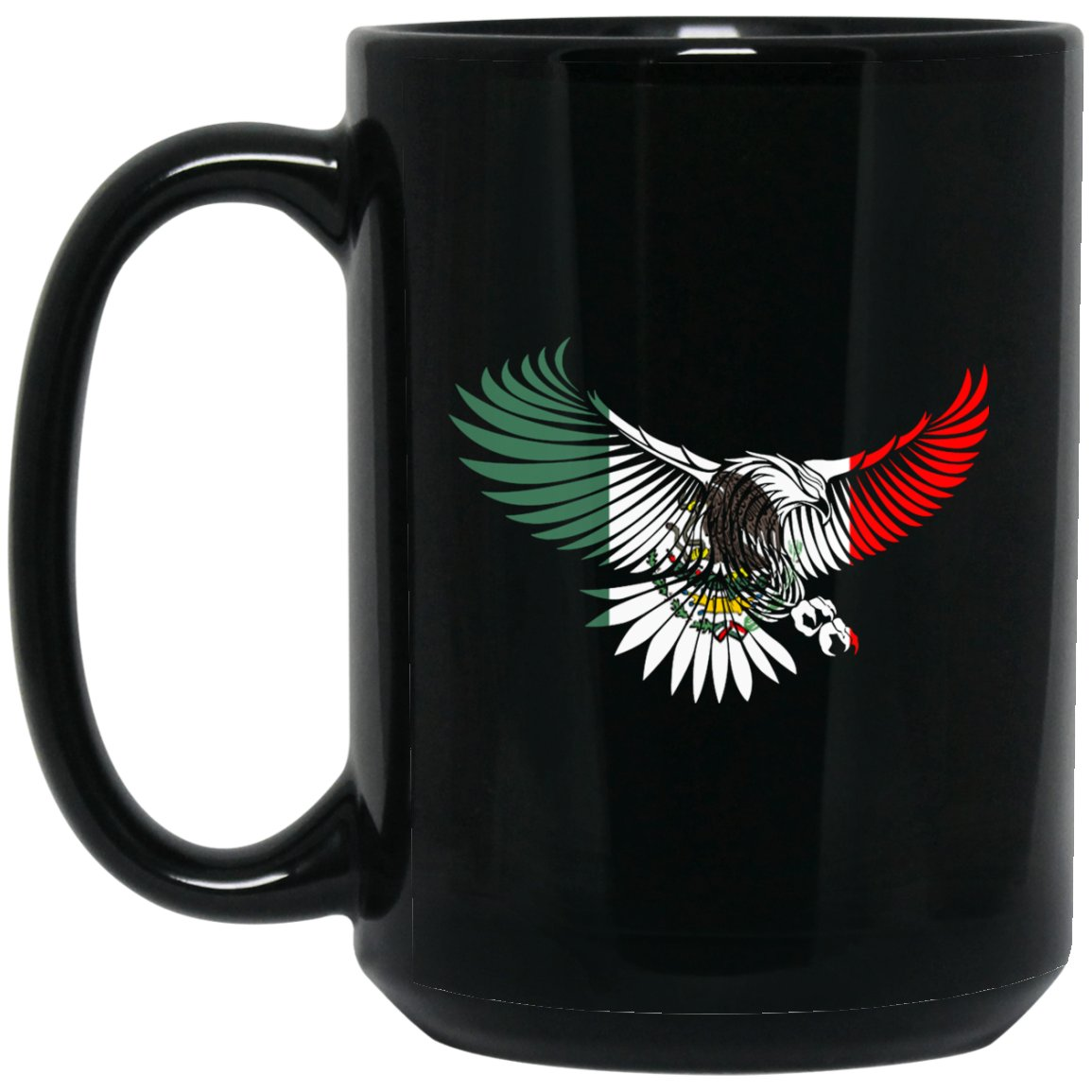 Cool Flying Eagle Coffee Mug Mexican Flag Mug for Mexican Pride Large Black Mug