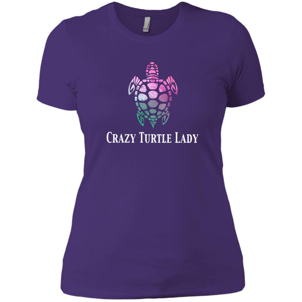 Crazy Turtle Lady Watercolor Womens T-Shirt