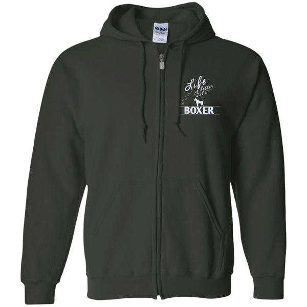 Boxer - Life Is Better With A Boxer Paws - Embroidered Zip Up Hooded Sweatshirt