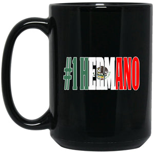 Cool Hermano Gift Coffee Mug For Mexican Flag Mug for Mexican Pride Vintage Flag OUtline Large Black Mug