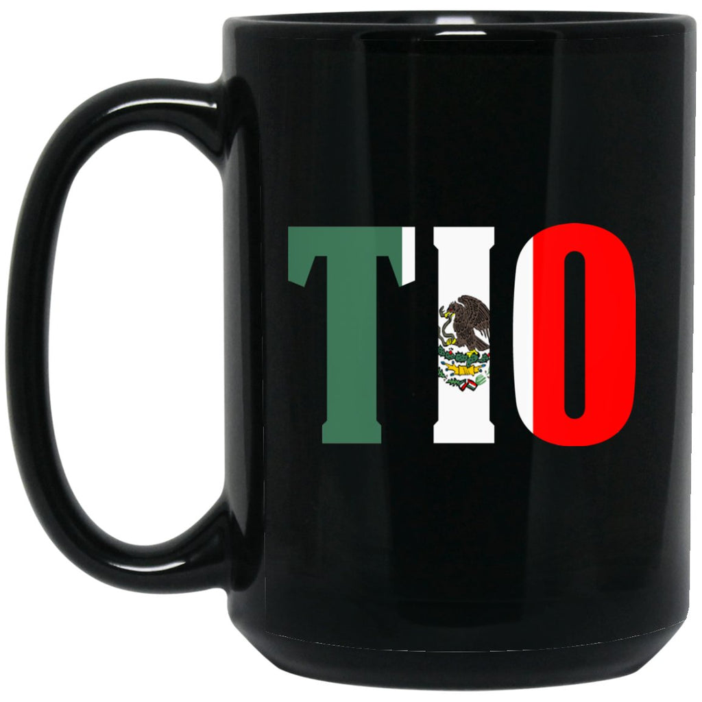Cool Tio Gift Coffee Mug Mexican Flag Mug for Mexican Pride Large Black Mug