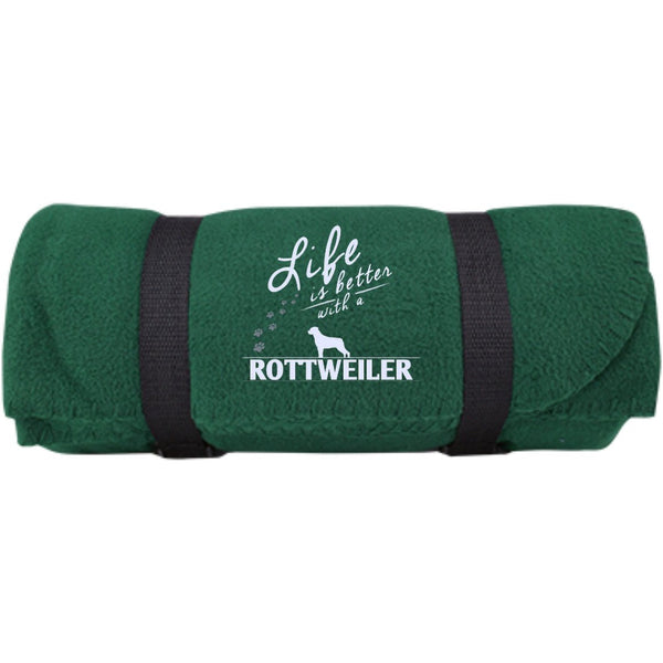 Rottweiler - Life Is Better With A Rottweiler Paws -  Fleece Blanket (Embroidered)