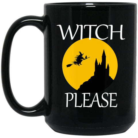 Funny Witch Witch Please Large Black Mug