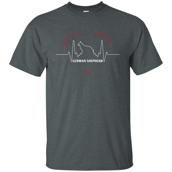 Funny German Shepherd T Shirt - German Shepherd Silhouette Heartbeat.png