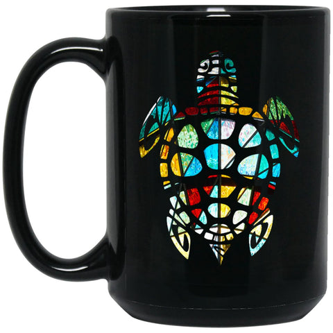 Cool Sea Turtle Stained Glass Large Black Mug