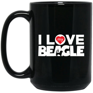 Awesome Beagle - I Love My Beagle No Frame Chunky Font Large Black Mug