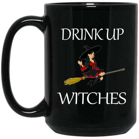 Funny Drink Up Witches Womens Large Black Mug