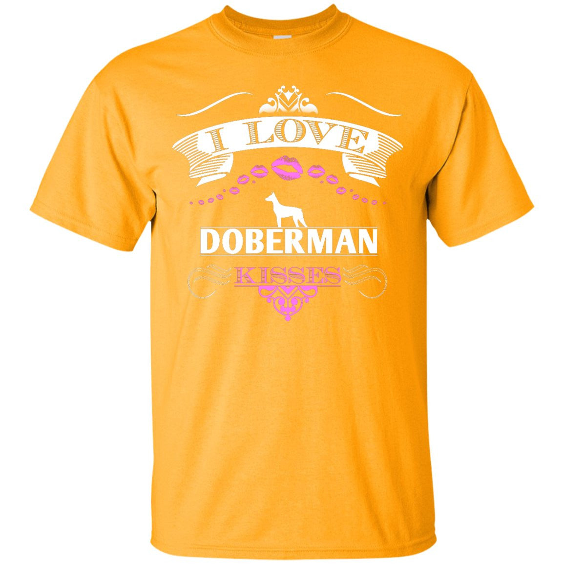 I LOVE DOBERMAN KISSES - FRONT DESIGN - Custom Ultra Cotton T-Shirt