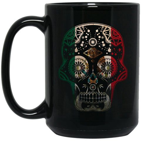 Cool Coffee Mug Mexican Flag Mug for Mexican Pride Skull Large Black Mug