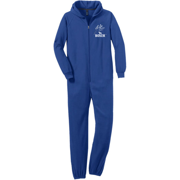 Boxer - Life Is Better With A Boxer Paws - Adult Fleece Onesie (Embroidered)