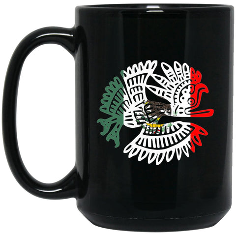 Cool Coffee Mug Mexican Flag Mug for Mexican Pride Bird Flag Large Black Mug