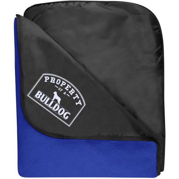 I Love My Bulldog - Fleece & Poly Travel Blanket (Embroidered)