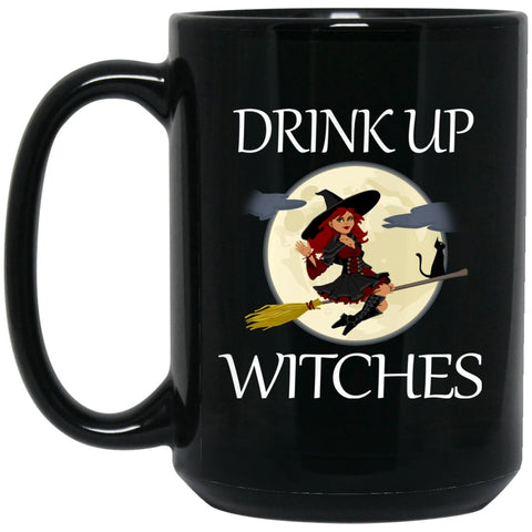 Funny Witch Mug Drink Up Witches Large Black Mug