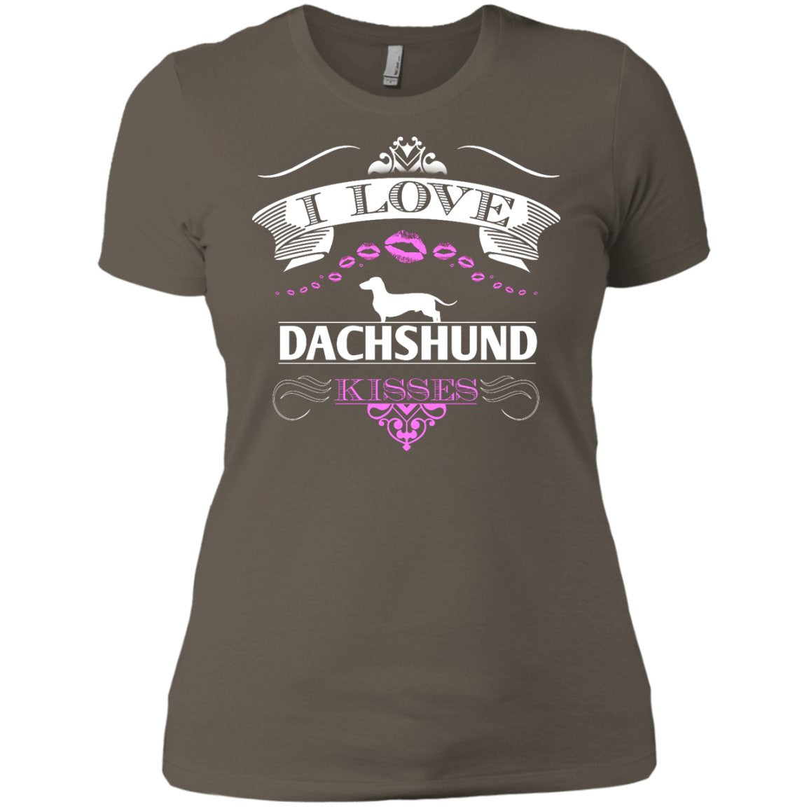 I LOVE DACHSHUND KISSES - FRONT DESIGN -  Next Level Ladies' Boyfriend Tee