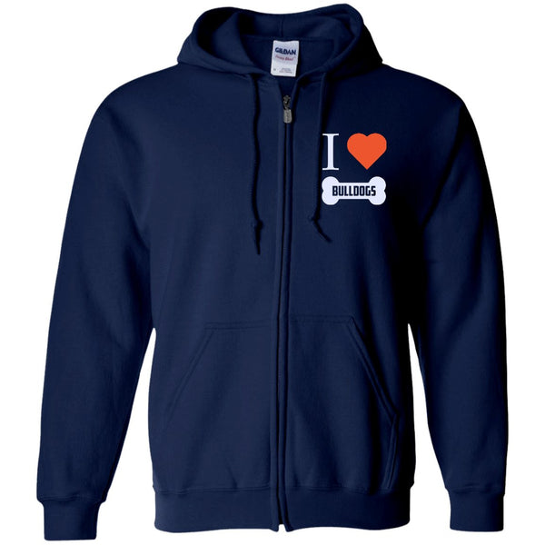 Bulldog - I LOVE MY BULLDOG (BONE DESIGN) - Embroidered Zip Up Hooded Sweatshirt