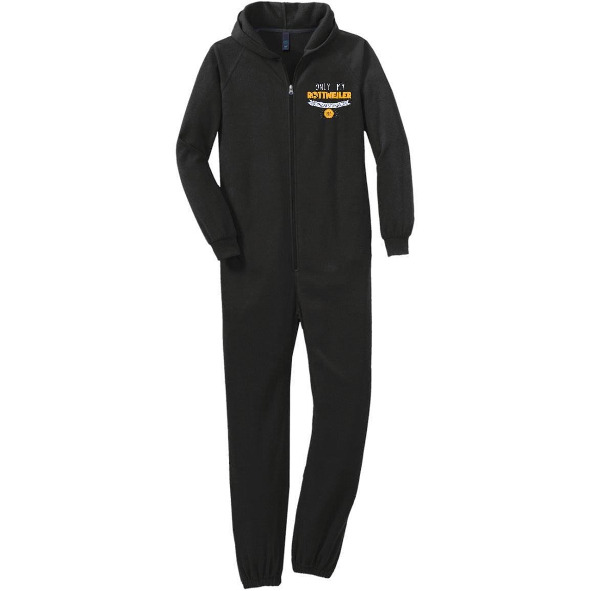 Rottweiler - Only My Rottweiler Understands Me - Adult Fleece Onesie (Embroidered)